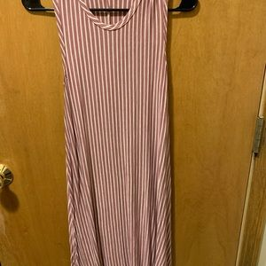 Pinc wine and cream pin striped dress